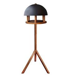 Bird table oak round black roof