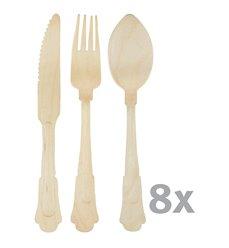 Kniv, skje og gaffel 8 sett miljøvennlig C2094