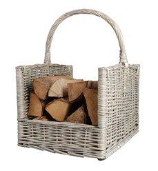 Wood log basket grey
